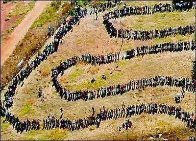 waiting to vote in Zimbabwe