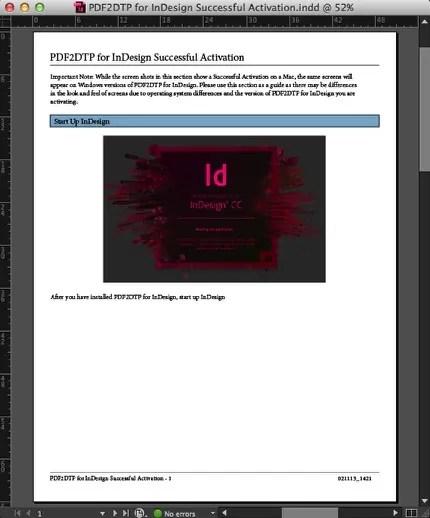 Example of PDF to InDesign CC 2017 File Conversion via PDF2DTP Adobe InDesign Plugin