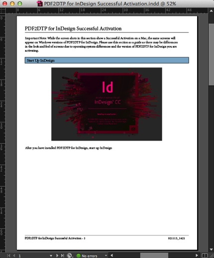 Resulting InDesign Document After Using Markzware PDF2DTP Plugin to Open PDF Layouts in Adobe InDesign CS6-CC 2017 on Mac