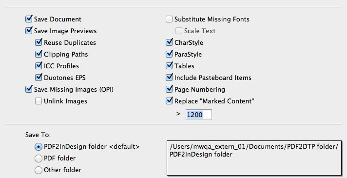 Markzware PDF2DTP for Adobe InDesign Save To Preferences