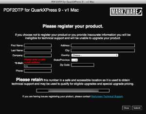 Markzware PDF2DTP for QuarkXPress Registration Required Field