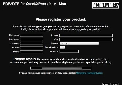 Markzware PDF2DTP for QuarkXPress Registration Screen