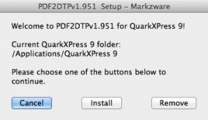 Markzware PDF2DTP for QuarkXPress Setup Window 1