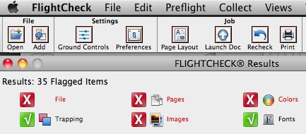 Markzware FlightCheck Menu Items in Stand-Alone Preflight Application