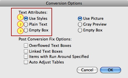 Conversion Options in ID2Q, InDesign CS-CC 2017 to QuarkXPress 9.5-2017 File Conversion Software