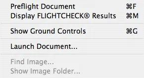 Preflight Menu in Markzware FlightCheck