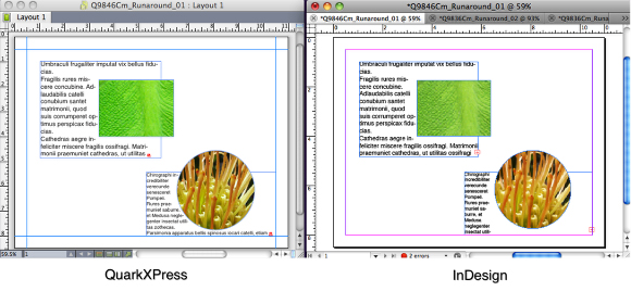 Convertir QuarkXPress QXP Text Wrap en InDesign dans un flux de production Adobe InDesign CS6, via Markzware Q2ID