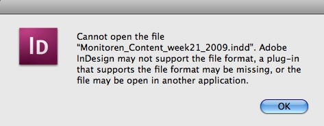 Adobe InDesign Error Message You May See Before You Use Markzware's DTP File Recovery Service