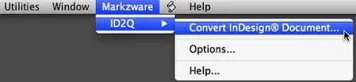Menú Markzware ID2Q QuarkXPress 9 10 Mac Acceso ID2Q