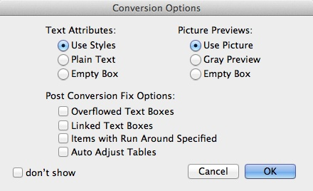 ID2Q XTension Options to Convert InDesign CC 2016 to QuarkXPress