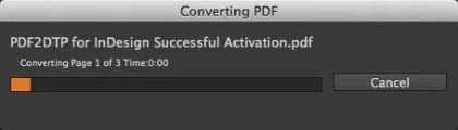 Markzware PDF2DTP for InDesign CC 2017 Mac Conversion Progress Bar