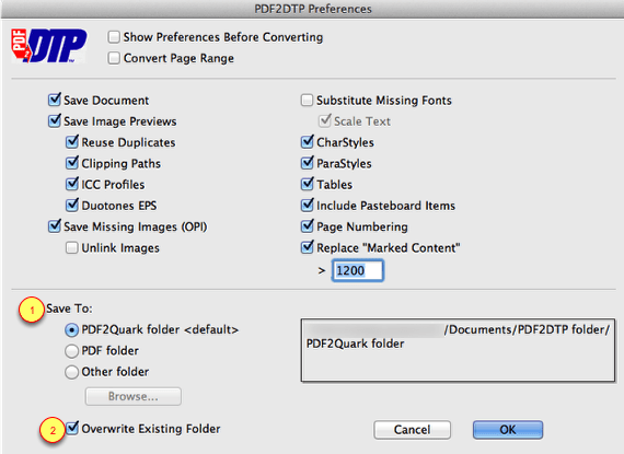 Markzware PDF2DTP for QuarkXPress Save To Preferences