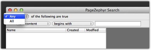 Markzware PageZephyr Search Mac Any All Search Criteria