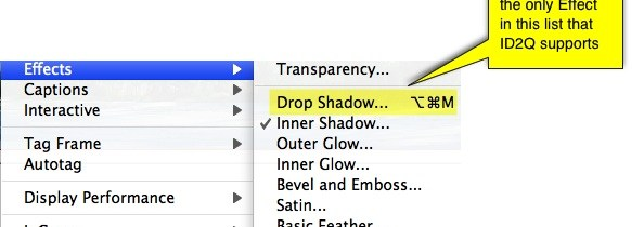 Markzware ID2Q Supported InDesign Effects, Drop Shadow Effect