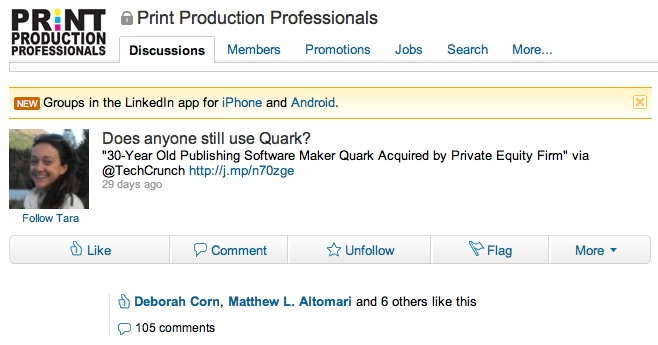 Anyone Use Quark? Print Production Professionals, LinkedIn Group Discussion