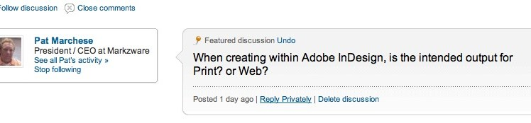 Is Adobe InDesign Output Intended for Print or Web? asks Patrick Marchese