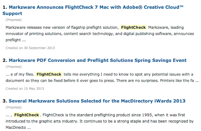 Global Print Monitor prepress printing news on Markzware FlightCheck