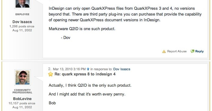 Q2ID worth every penny per Bob Levine, expert InDesign Guy