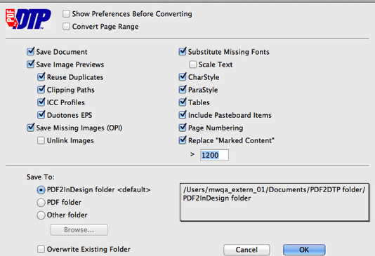 Markzware PDF2DTP for InDesign General Preferences