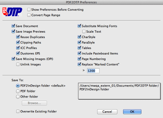 Preferences Window in Markzware's PDF2DTP for InDesign for PDF to Adobe InDesign CS6 File Conversion on Mac