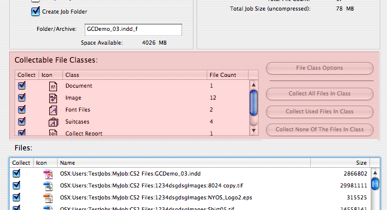 Markzware FlightCheck Collectable File Classes area in Collect Window