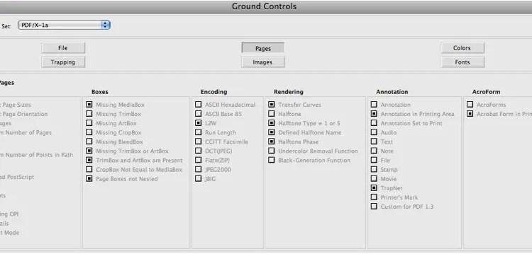 Markzware FlightCheck Pages Ground Controls