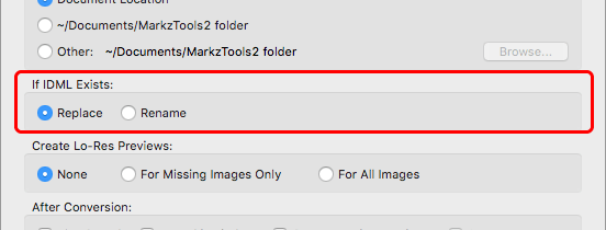 Markzware MarkzTools2 Preferences option If IDML Exists