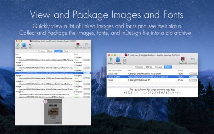 Ansicht, Sammeln und Paket InDesign-Dateien, Bilder und Schriften über Zware der ID Util für Mac OS