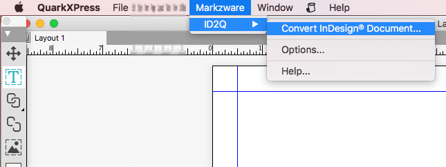 Menu in QuarkXPress 2018 XTension, Markzware ID2Q, for InDesign to QuarkXPress 2018