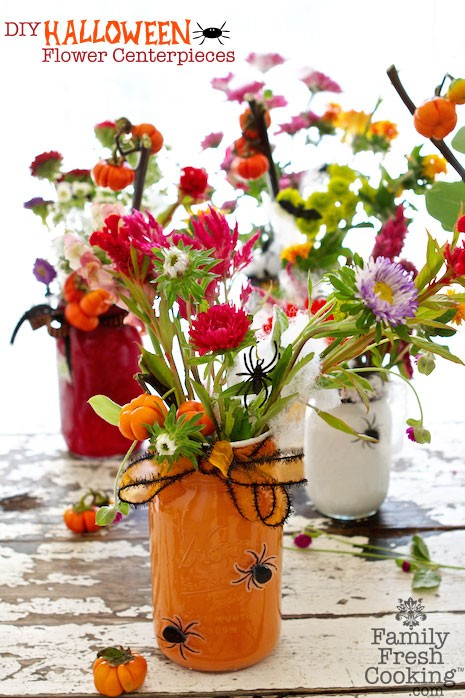 How to: Painted Mason Jar Halloween Flowers | MarlaMeridith.com