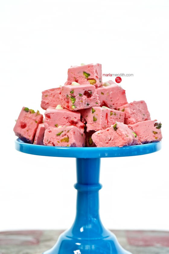 Cherry & Pistachio Fudge | Surprise your Valentine with this sweet treat! MarlaMeridith.com