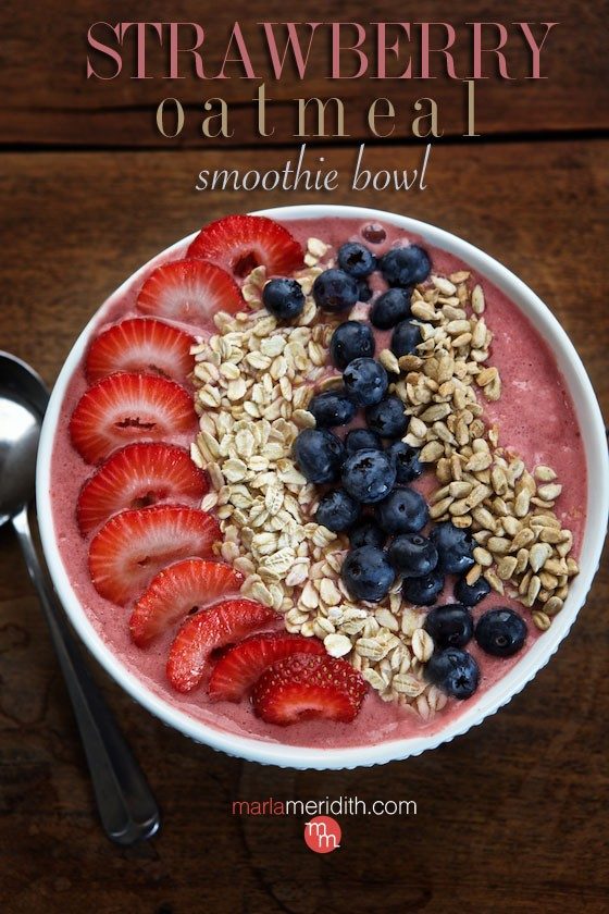 These Strawberry Oatmeal Smoothie Bowls are healthy, refreshing and delicious! MarlaMeridith.com