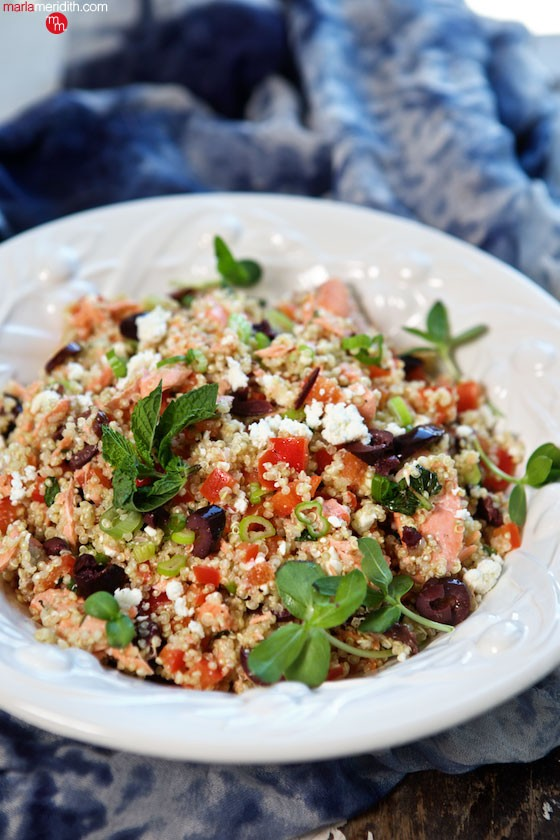 The Most Amazing Salmon Quinoa Salad! Healthy & delicious! MarlaMeridith.com ( @marlameridith )