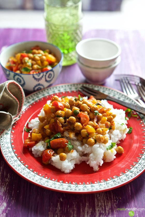 This Vegan Thai Chickpea Curry recipe is a HUGE hit in our house. You won't miss the meat at all! MarlaMeridith.com