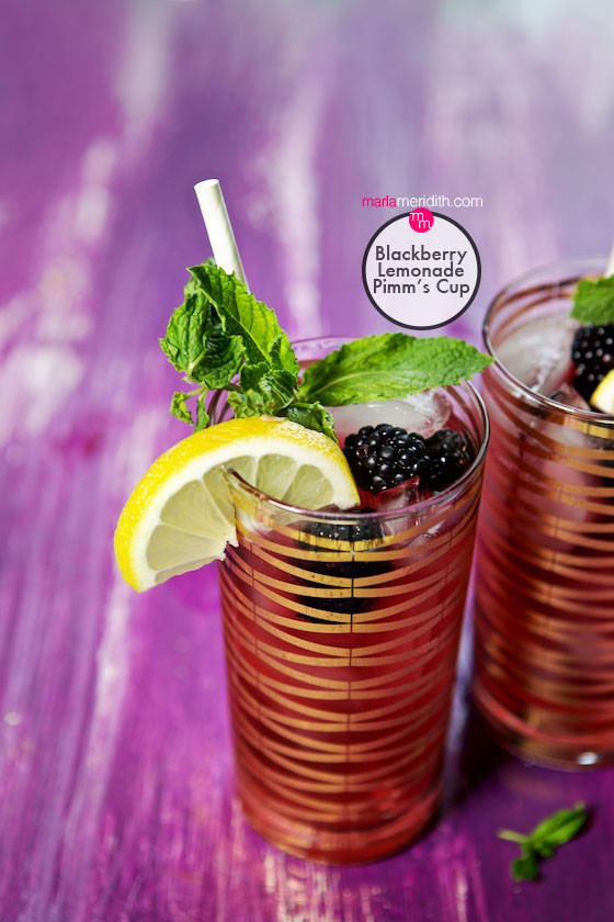 The perfect summer cocktail: Blackberry Lemonade Pimm's Cup! recipe on marlameridith.com