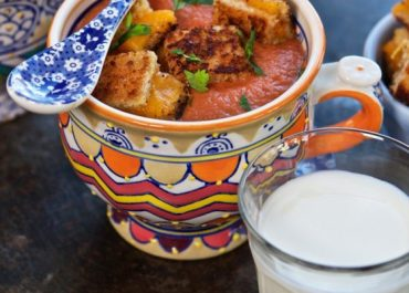Rustic Tomato Soup with Grilled Cheese Croutons, get this delicious recipe on MarlaMeridith.com