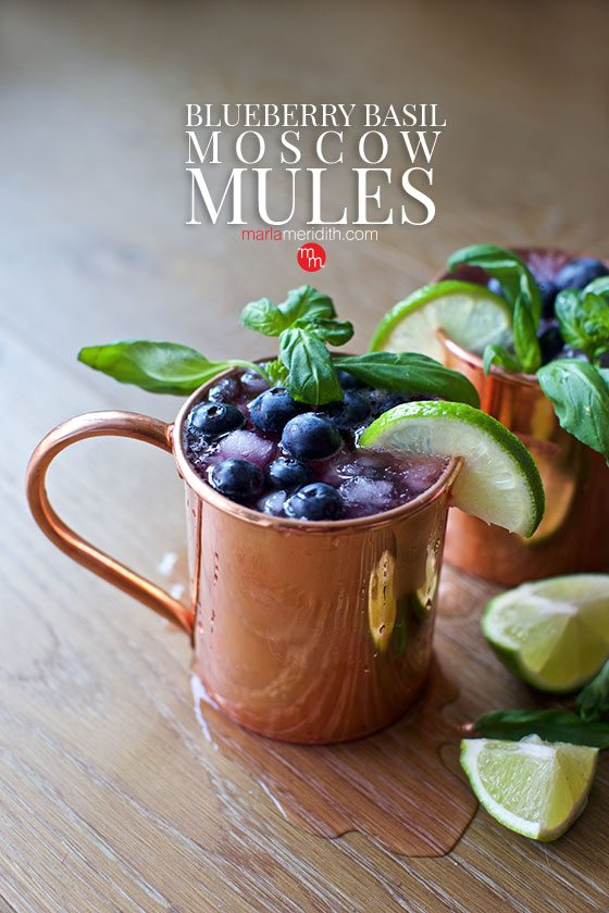 Try these delicious Blueberry Basil Moscow Mules. Get the recipe on MarlaMeridith.com