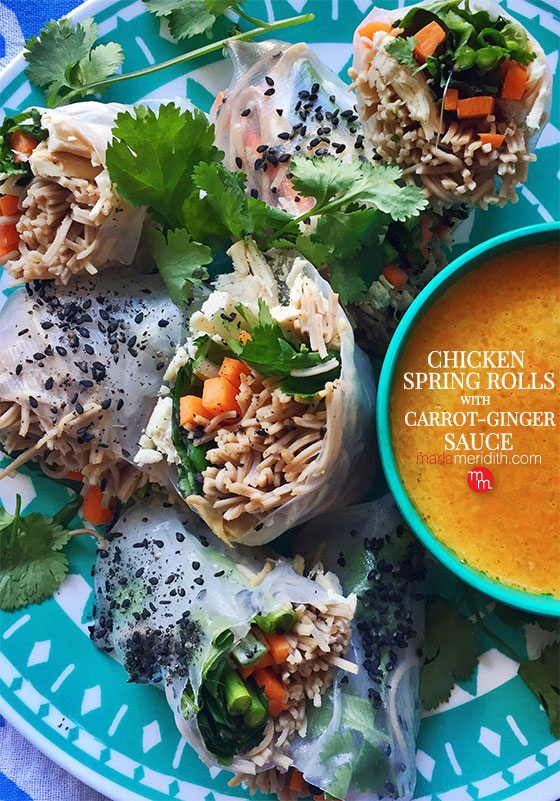 Chicken Spring Rolls with Carrot-Ginger Sauce recipe. So easy & super healthy, sure to be a hit with your family! MarlaMeridith.com ( @marlameridith )