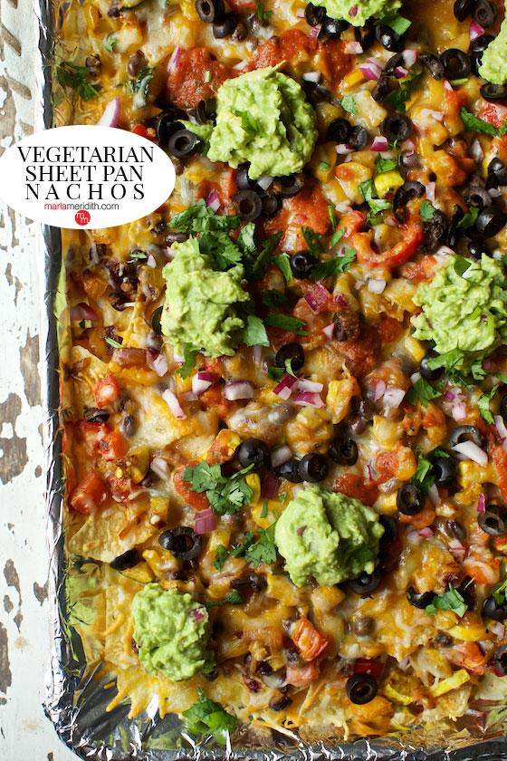 You've gotta try this Vegetarian Sheet Pan Nachos recipe on MarlaMeridith.com