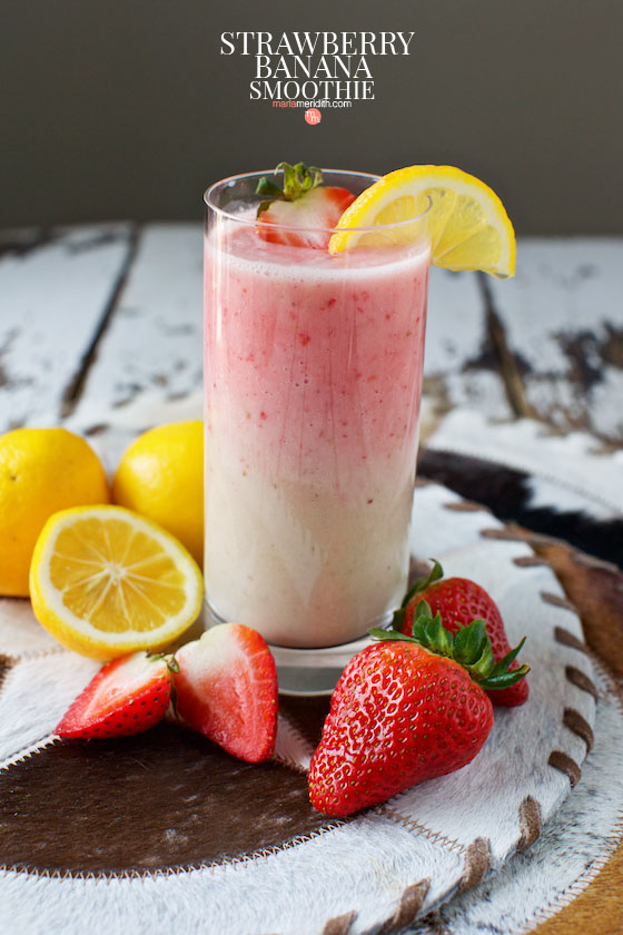 Try this simple, delicious and refreshing Strawberry Banana Smoothie today! MarlaMeridith.com #recipe #smoothie