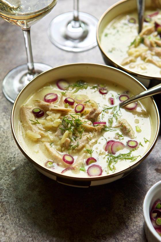 Avgolemono Soup (Greek Egg, Lemon & Chicken Soup) recipe| MarlaMeridith.com #soup #recipe #food