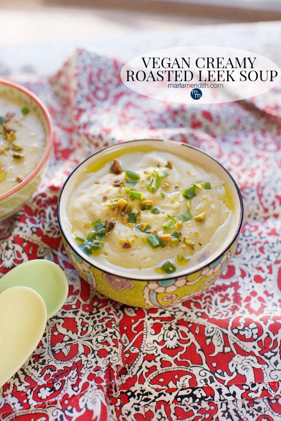 This Vegan Creamy Roasted Leek Soup recipe os so delish! MarlaMeridith.com