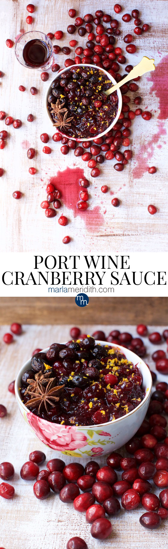Port Wine Cranberry Sauce recipe. Bookmark for holiday feasts! Marlameridith.com #recipe #vegan #glutenfree #Christmas #Thanksgiving #holiday