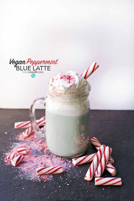 This Vegan Peppermint Blue Latte recipe is everything you could want on a chilly winters day. You can add a boozy twist too! MarlaMeridith.com ( @marlameridith ) #vegan #latte #recipe