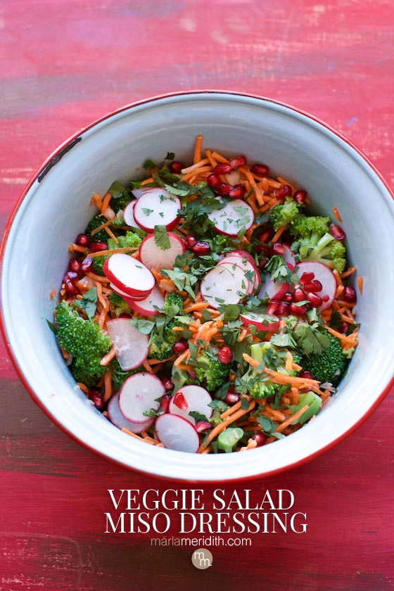Try this #vegan Veggie Salad with Miso Dressing #recipe. An energy packed salad! MarlaMeridith.com #salad