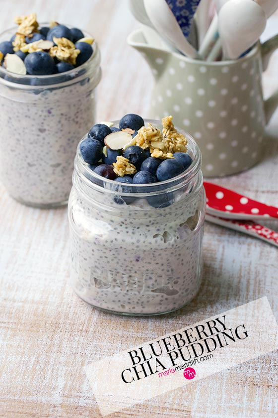 Try this delicious Vegan Blueberry Chia Pudding for a healthy breakfast! MarlaMeridith.com #breakfast #chia #diet #yogurt
