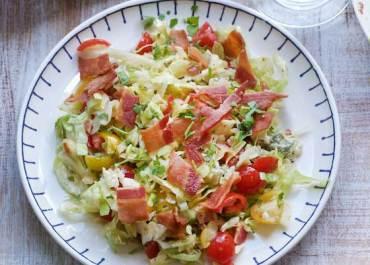 Chopped Salad with Warm Bacon Shallot Vinaigrette