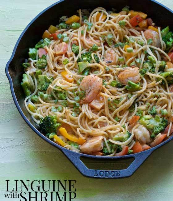 Linguine with Shrimp & Vegetables, a healthy, protein packed & delicious pasta recipe! MarlaMeridith.com #recipe #pasta