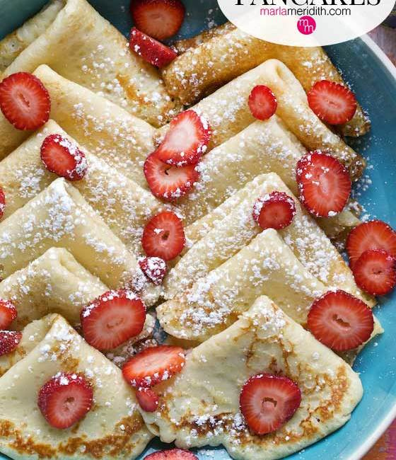 Swedish Pancakes are so delicious! Get the simple recipe and make some today! MarlaMeridith.com #recipe #pancakes