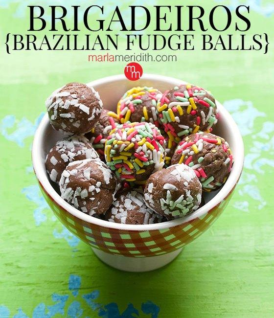 Hey chocolate lovers! You've gotta try these Brigadeiros {Brazilian Fudge Balls} asap. Get the recipe on MarlaMeridith.com